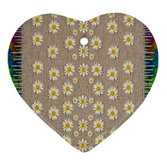 Star Fall Of Fantasy Flowers On Pearl Lace Ornament (heart) by pepitasart