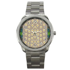 Star Fall Of Fantasy Flowers On Pearl Lace Sport Metal Watch by pepitasart