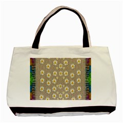 Star Fall Of Fantasy Flowers On Pearl Lace Basic Tote Bag