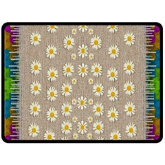 Star Fall Of Fantasy Flowers On Pearl Lace Fleece Blanket (large)  by pepitasart