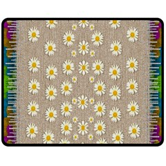 Star Fall Of Fantasy Flowers On Pearl Lace Double Sided Fleece Blanket (medium)  by pepitasart