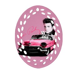 Elvis Presley s Pink Cadillac Oval Filigree Ornament (two Sides) by Valentinaart