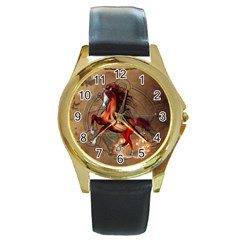 Awesome Horse  With Skull In Red Colors Round Gold Metal Watch by FantasyWorld7