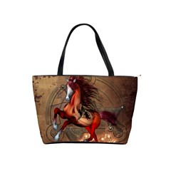 Awesome Horse  With Skull In Red Colors Shoulder Handbags by FantasyWorld7