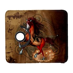 Awesome Horse  With Skull In Red Colors Galaxy S3 (flip/folio) by FantasyWorld7