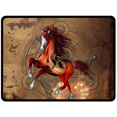 Awesome Horse  With Skull In Red Colors Fleece Blanket (large)  by FantasyWorld7