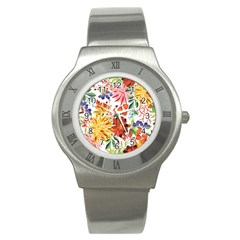 Autumn Flowers Pattern 1 Stainless Steel Watch by tarastyle