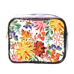 Autumn Flowers Pattern 1 Mini Toiletries Bags by tarastyle
