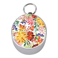 Autumn Flowers Pattern 1 Mini Silver Compasses by tarastyle