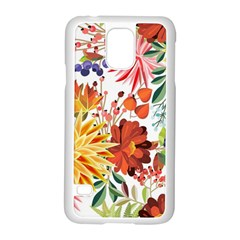 Autumn Flowers Pattern 1 Samsung Galaxy S5 Case (white) by tarastyle