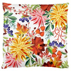 Autumn Flowers Pattern 1 Large Flano Cushion Case (two Sides) by tarastyle