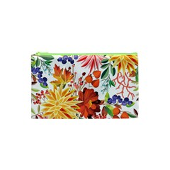 Autumn Flowers Pattern 1 Cosmetic Bag (xs) by tarastyle