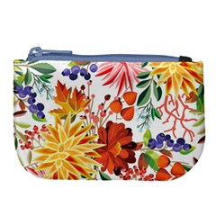 Autumn Flowers Pattern 1 Large Coin Purse by tarastyle
