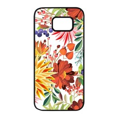 Autumn Flowers Pattern 1 Samsung Galaxy S7 Edge Black Seamless Case by tarastyle