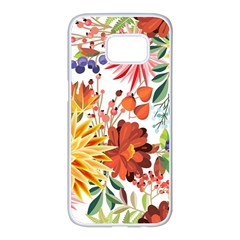 Autumn Flowers Pattern 1 Samsung Galaxy S7 Edge White Seamless Case by tarastyle