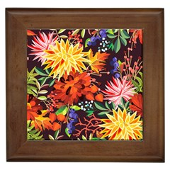 Autumn Flowers Pattern 2 Framed Tiles by tarastyle