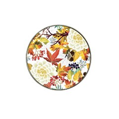 Autumn Flowers Pattern 3 Hat Clip Ball Marker (4 Pack) by tarastyle