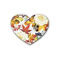 Autumn Flowers Pattern 3 Rubber Coaster (heart)  by tarastyle