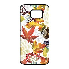 Autumn Flowers Pattern 3 Samsung Galaxy S7 Edge Black Seamless Case by tarastyle