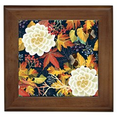 Autumn Flowers Pattern 4 Framed Tiles by tarastyle