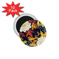 Autumn Flowers Pattern 4 1 75  Magnets (10 Pack)  by tarastyle