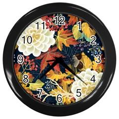 Autumn Flowers Pattern 4 Wall Clocks (black) by tarastyle