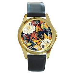 Autumn Flowers Pattern 4 Round Gold Metal Watch by tarastyle