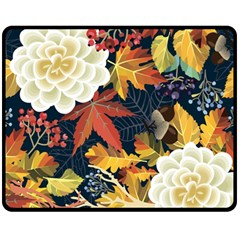 Autumn Flowers Pattern 4 Fleece Blanket (medium)  by tarastyle