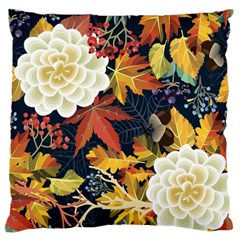 Autumn Flowers Pattern 4 Large Flano Cushion Case (two Sides) by tarastyle