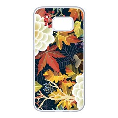 Autumn Flowers Pattern 4 Samsung Galaxy S7 Edge White Seamless Case by tarastyle