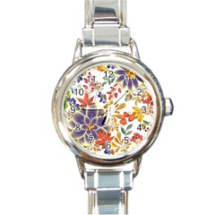 Autumn Flowers Pattern 5 Round Italian Charm Watch by tarastyle