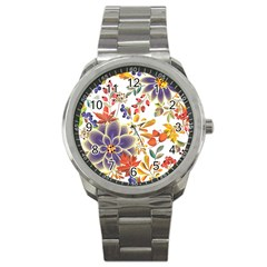 Autumn Flowers Pattern 5 Sport Metal Watch by tarastyle