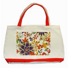 Autumn Flowers Pattern 5 Classic Tote Bag (red) by tarastyle