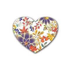 Autumn Flowers Pattern 5 Rubber Coaster (heart)  by tarastyle