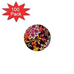 Autumn Flowers Pattern 6 1  Mini Buttons (100 Pack)  by tarastyle