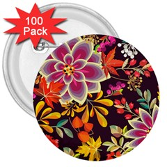 Autumn Flowers Pattern 6 3  Buttons (100 Pack)  by tarastyle