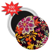 Autumn Flowers Pattern 6 2 25  Magnets (100 Pack)  by tarastyle