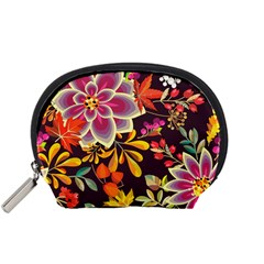 Autumn Flowers Pattern 6 Accessory Pouches (small)  by tarastyle