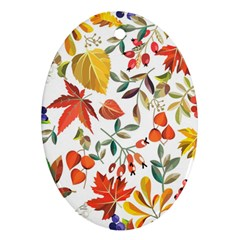 Autumn Flowers Pattern 7 Ornament (oval) by tarastyle