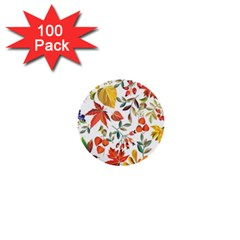 Autumn Flowers Pattern 7 1  Mini Buttons (100 Pack)  by tarastyle
