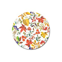 Autumn Flowers Pattern 7 Magnet 3  (round) by tarastyle