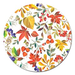 Autumn Flowers Pattern 7 Magnet 5  (round) by tarastyle