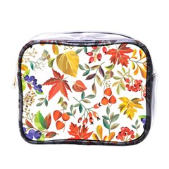 Autumn Flowers Pattern 7 Mini Toiletries Bags by tarastyle