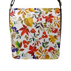 Autumn Flowers Pattern 7 Flap Messenger Bag (l)  by tarastyle