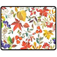 Autumn Flowers Pattern 7 Double Sided Fleece Blanket (medium)  by tarastyle