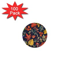 Autumn Flowers Pattern 8 1  Mini Buttons (100 Pack)  by tarastyle
