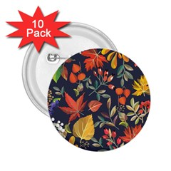 Autumn Flowers Pattern 8 2 25  Buttons (10 Pack)  by tarastyle