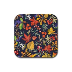 Autumn Flowers Pattern 8 Rubber Coaster (square)  by tarastyle