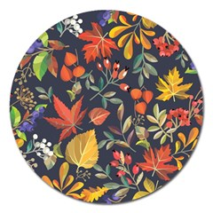 Autumn Flowers Pattern 8 Magnet 5  (round) by tarastyle