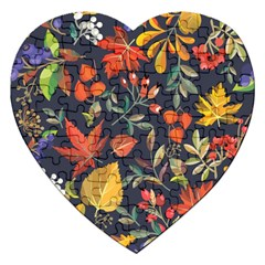 Autumn Flowers Pattern 8 Jigsaw Puzzle (heart) by tarastyle